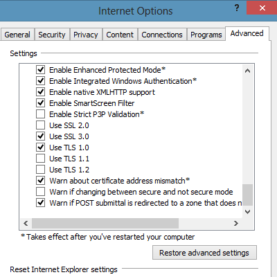 IE10 Screenshot: Internetoptionen > Erweitert > Security > Enhanced Protected Mode aktivieren