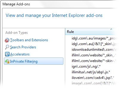 IE InPrivate Filtering